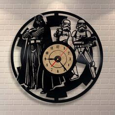 Star Wars Embroidery Banner Inspired Vinyl Wall Record Clock ($35) ❤ liked on Polyvore featuring home, home decor, clocks, dark olive, home & living, home décor, vinyl clock, star wars home decor, interior wall decor and personalized wall clock