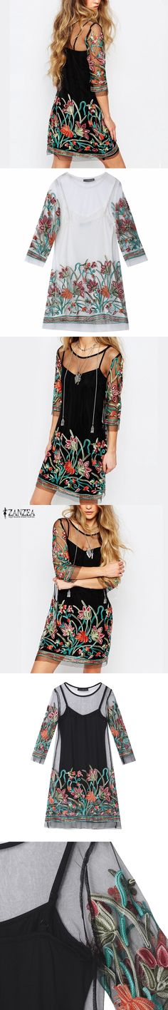 Summer Dress 2017 Boho Women Floral Embroidery Lace Mesh Dress Sleeve Mini  Dresses Casual See Through Vestidos Plus Size 0eb004aa8953
