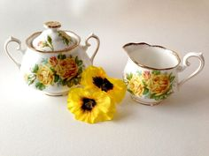 Royal Standard Creamer and Sugar Tea Roses Yellow by 2Fun4Words