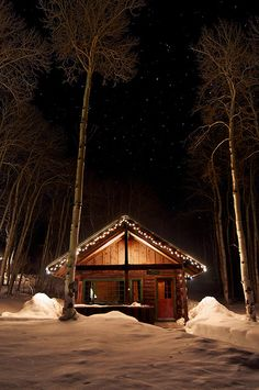 Simple rustic winter cabin