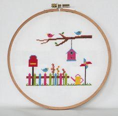 Spring Garden Cross Stitch Pattern-birdhouse от BisforBumblebee