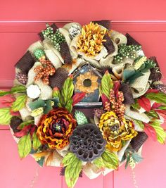 Burlap and Floral Wreath with Birdhouse by CorinnesCottage on Etsy, $55.00