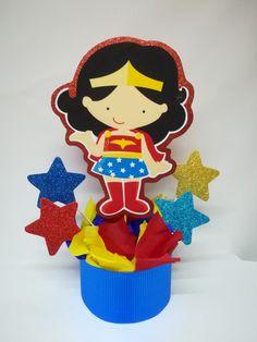 4 Wonder Woman centerpieces, Wonder Woman party decoration,