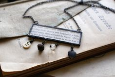 Mixed Media Soldered Pendant with Vintage Book Page