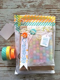Cute packaging- layered glassine bags with washi tape, buttons, twine Pretty Packaging, Gift Packaging, Packaging Ideas, Birthday Gift Wrapping, Birthday Gifts, Washi Tape, Masking Tape, Mish Mash, Creative Gifts