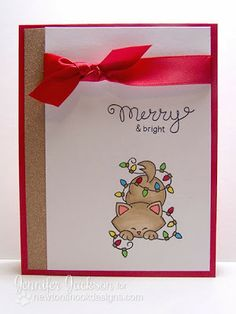 Kitty with christmas lights card by Newton's Nook Designs