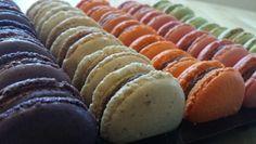 Autumnal macarons. Damson , Cobnut,  spiced Pumpkin,  Quince,  Pear. Spiced Pumpkin, Pumpkin Spice, Hot Dog Buns, Hot Dogs, Autumnal, Chocolates, Macarons, Pear, Sausage