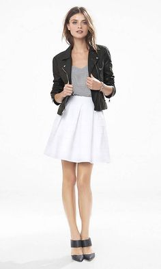 White High Waist Elastic Full Skirt | Express
