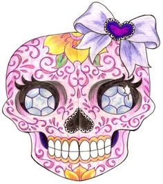 Girl Sugar Skull Tattoo with Diamonds and Bow 3 by ~Metacharis on deviantART