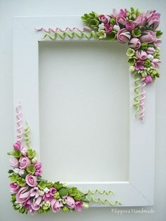 fimo - SK: What a cute idea to enhance SBs. Or redo thrift store frames. Just thought about doing a Carousel animal SB…Floral frame ~ lots of work, but simply gorgeous!Blumen Polymer Clay I love the spirals!Beautiful pink and green floral photo or Polymer Clay Kunst, Fimo Clay, Polymer Clay Projects, Polymer Clay Jewelry, Quilled Creations, Polymer Clay Creations, Play Clay, Polymer Clay Flowers, Diy Décoration