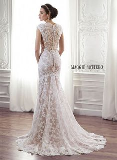 Lace sheath wedding dress with scalloped lace neckline and illusion lace back, Londyn by Maggie Sottero. #weddingdress