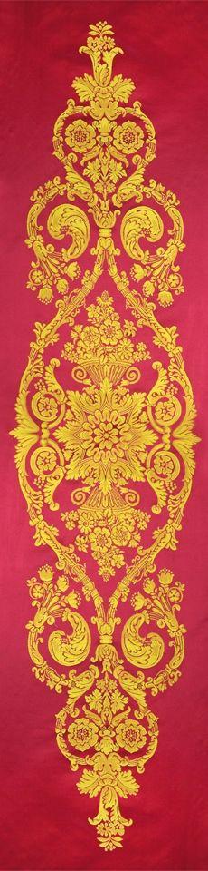 Scalamandre damask red room White House