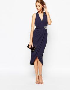 Image 4 ofTFNC Wrap Front Plunge Midi Dress With Embellished Waist