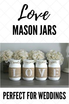 This is a custom designed & hand-painted set 4 pint size Mason Jars wrapped in burlap to spell out LOVE .  Each jar is hand painted, lightly distressed and sealed. Each jar is then wrapped with a hand painted letter on the burlap and  jute rope on the top to finish this jar set off. #lovejar #masonjardecoration #weddingmasonjar #engagementpartymasonjar #rusticwedding #rusticengagementparty #rusticmasonjar #valentinesdaydecor #rusticvalentinesday #handpainted #burlapweddingdecor #juterope