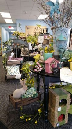 Spring display- Sturgeon Bay Sturgeon Bay, Spring Garden, Display, Table Decorations, Shop, Furniture, Home Decor, Floor Space, Decoration Home