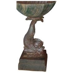 Antique 19th century American Cast Iron Bird Bath Font with Dolphin Support and Shell Basin @rubylanecom #VintageGarden #rubylane