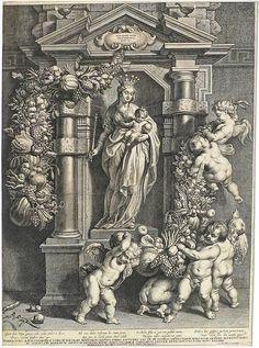 Flemish School - GALLE, Corneille (1576-1650) .- The Virgin Nicolas Rockox [after Pieter Paul Rubens (1577-1640)]. Etching, cuv. 55.2 x 4.2 cm,