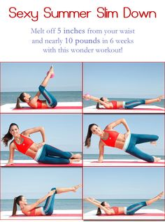 """Melt off 5 inches from your waist and nearly 10 pounds in 6 weeks with this wonder """"Sexy Summer Slim Workout""""! Pin if you like it."""