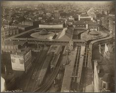 Boston's Dudley St. Station on the Main Line Elevated in 1910. Streetcar loops and elevated station.