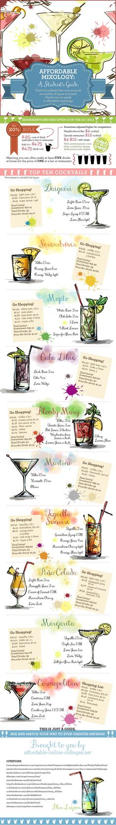 Affordable Mixology: A Student's Guide  plus top 10 drinks