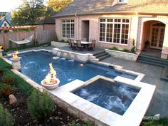 Formal / Geometric Pool by Southernwind Pools Small Backyard Pools, Backyard Patio Designs, Small Pools, Swimming Pools Backyard, Swimming Pool Designs, Outdoor Pool, Sloped Backyard, Patio Ideas, Backyard Ideas