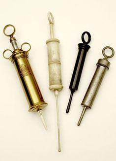 Enema syringes  Brass, ivory, ebony and pewter enema syringes. 17th-19th century.  Credit: Wellcome Library, London