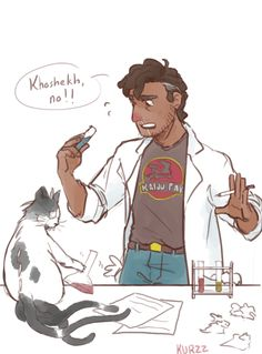Carlos is allergic to cats. But I bought him some Claratin, so he'll be fine while Khoshekh heals.