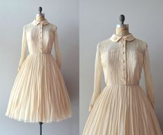 vintage 1950s dress / 50s silk chiffon dress / by DearGolden, $224.00