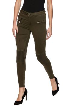 Olive moto skinny jeanswith front zipper pockets, seamed detailing, mid-rise, and back pockets.   Moto Pants by Elan. Clothing - Bottoms - Jeans & Denim - Skinny New York City Manhattan, New York City