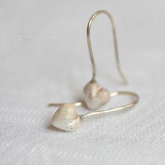 White Heart Earrings Sterling Silver Love OOAK Jewel Dangle by lachicadelosanillos on Etsy https://www.etsy.com/listing/178105623/white-heart-earrings-sterling-silver