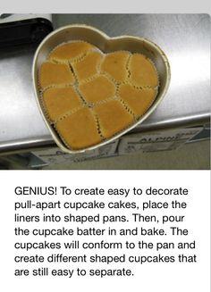 To create easy to decorate pull-apart cupcake cakes, place the liners into shaped pans. Then, pour the cupcake batter in and bake. The cupcakes will conform to the pan, for the cupcake cakes No Bake Desserts, Just Desserts, Delicious Desserts, Dessert Recipes, Baking Desserts, Pull Apart Cupcake Cake, Cupcake Cakes, Dessert Oreo, Baking Tips