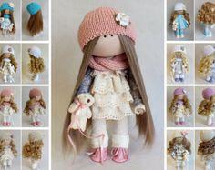 Muñeca hecha a mano Tilda muñeca Interior muñeca arte muñeca
