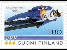 Postage stamp depicting Matti Nykänen at the Calgary Winter Olympic Games. Winter Olympic Games, Winter Olympics, Winter Games, Calgary, Xc Ski, Nordic Skiing, Ski Posters, Ski Jumping, Writers