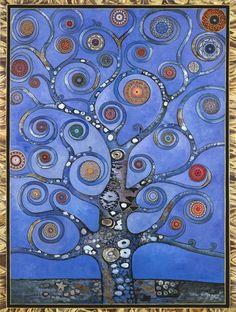 mandala blue tree, auspicious symbol