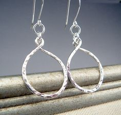 Hammered Silver Hoop Earrings Sterling Silver by TouchOfSilver