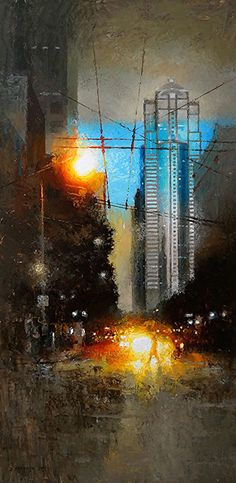 Sparks On Third by David Cheifetz Oil ~ 24 x 12