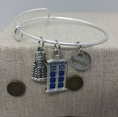 Doctor Who Police Box Spoilers inspired Charm Bracelet Bangle Silver Tone Copper