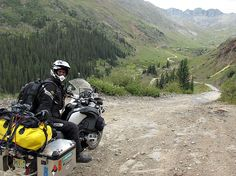 Riding a BMW R1200 GS Adventure through Colorado loaded with all camping, camera, and computer gear to live & work off the bike.