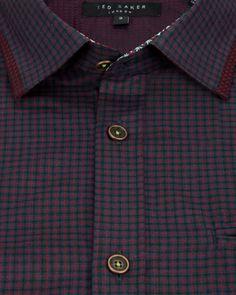 Long sleeve check shirt - Red | Shirts | Ted Baker UK