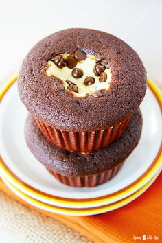 Pumpkin Black Bottom Cupcakes - Chocolate chip pumpkin cheesecake, surrounded by a decadent chocolate cupcake…made easy with the help of a boxed cake mix! sunnysideups.org
