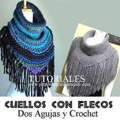 cuellos terminados en picos para tejer en tricot y ganchillo