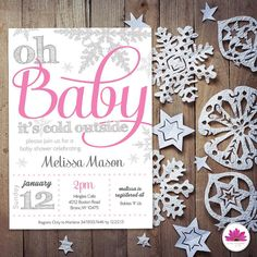 Baby Shower Invitation- Winter Wonderland Theme Perfect Invitation for your winter wonderland baby shower! By purchasing this listing you will