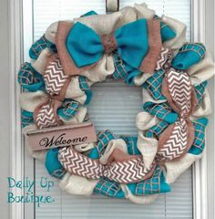Turquoise and white welcome wreath https://www.etsy.com/listing/185580853/spring-wreath-mothers-day-wreath-teal