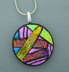 Round  Glass Necklace Dichroic Jewelry Fused Glass by GlassCat, $25.00