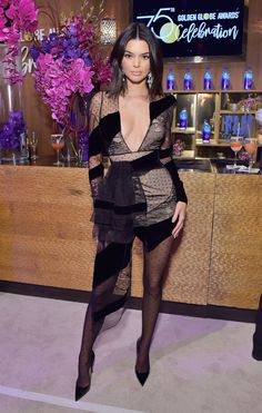 Kendall Jenner Wore an Extra Sheer Little Black Dress to the Golden Globes After Parties