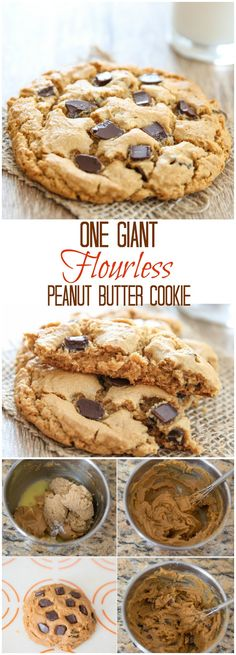 Giant Flourless Peanut Butter Cookie for one. Just 5 ingredients!