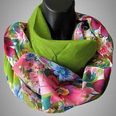 Loop Schal /  Rundschal Loopschal Schlauchschal - Cotton - Blumen Muster grün