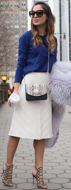 Light Purple Fluffy Coat, Blue Sweater, White Structiured Midi Skirt, Brown Caged Heels | Necklace of Pearls #light