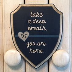 Thin Blue Line Home 10-7  5x7 Shield Wood by EllieDeeDesigns