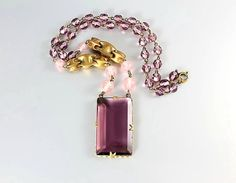 Antique Art Deco crystal Necklace Purple Amethyst by RMSjewels